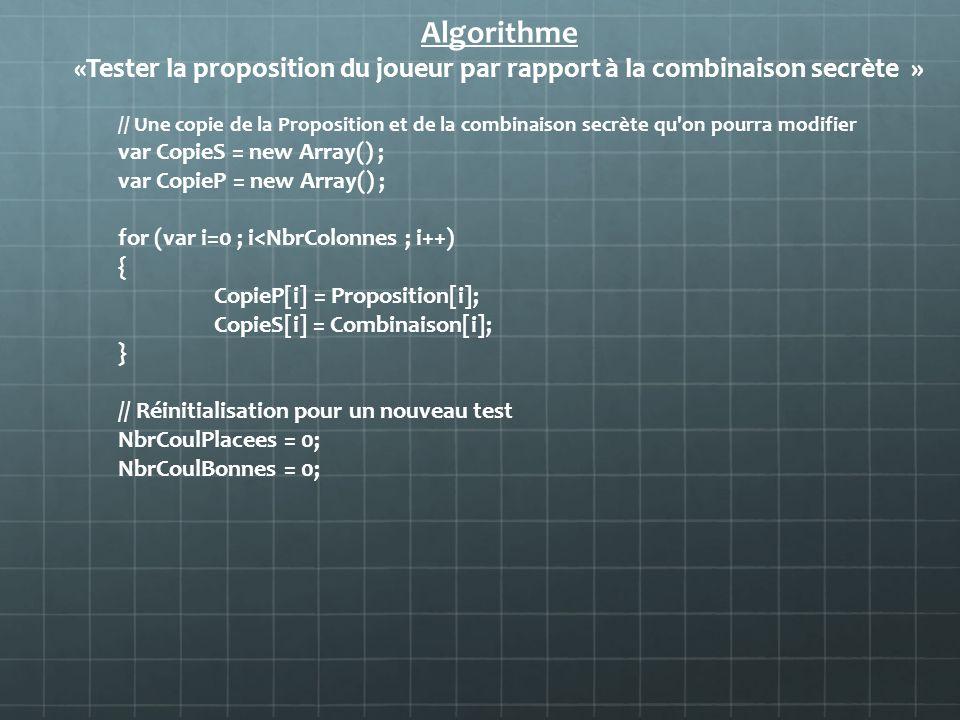 Algorithme«Tester la proposition du joueur par rapport à la combinaison secrète »