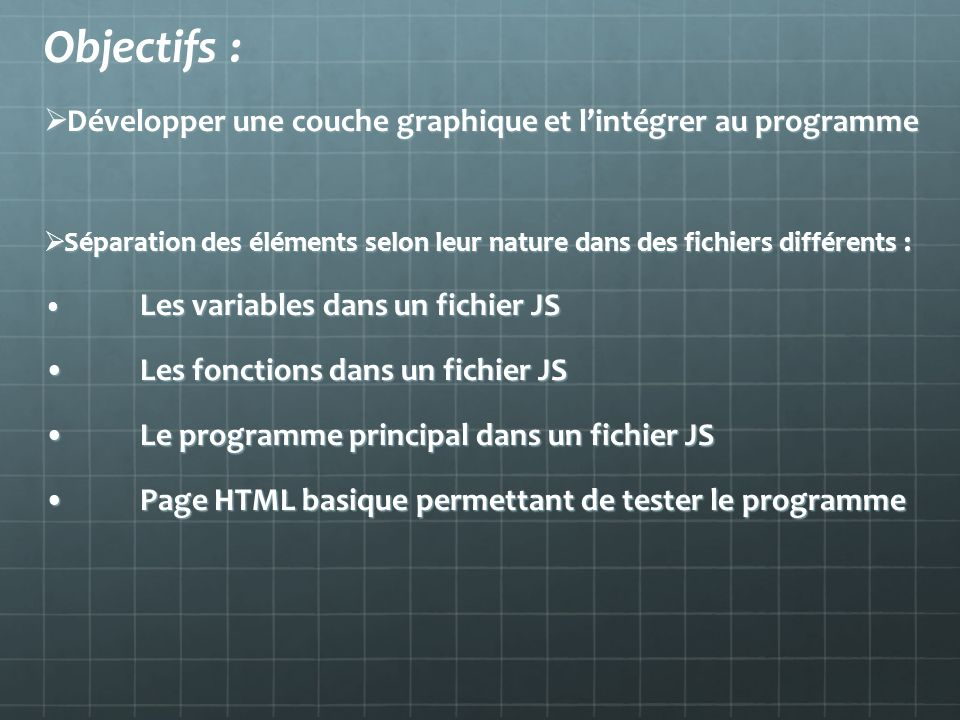 Objectifs : Développer une couche graphique et l'intégrer au programme