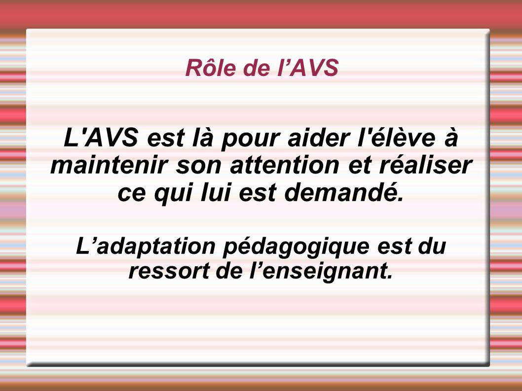L'adaptation pédagogique est du ressort de l'enseignant.