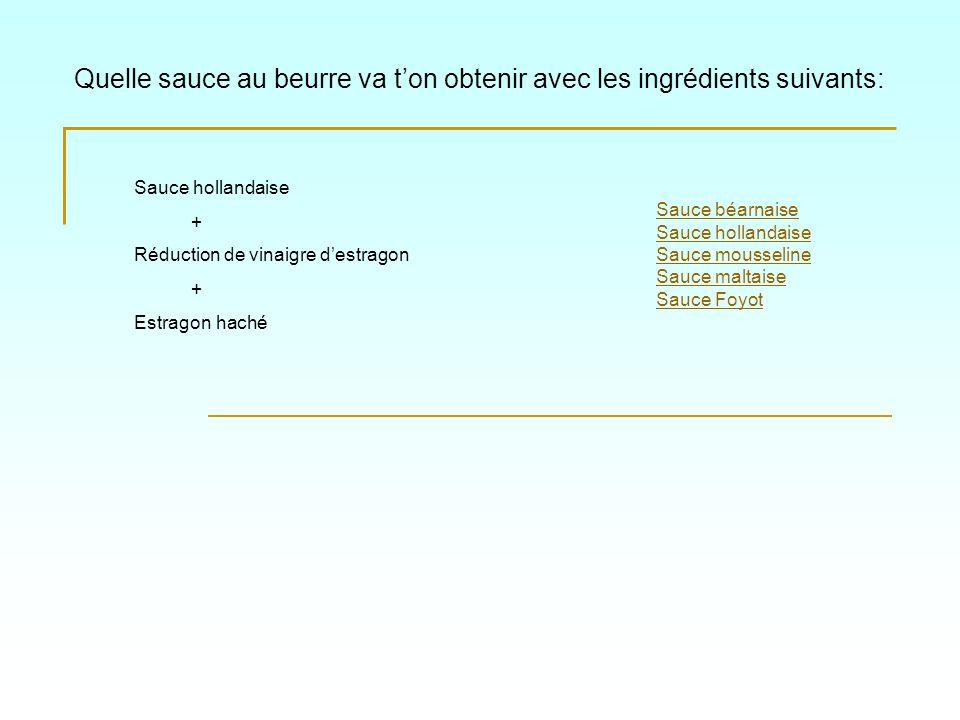 Quelle sauce au beurre va t'on obtenir avec les ingrédients suivants: