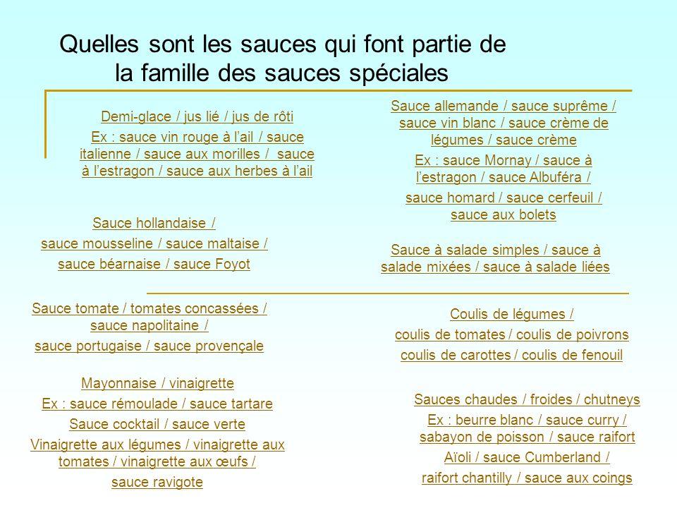 Quelles sont les sauces qui font partie de la famille des sauces spéciales