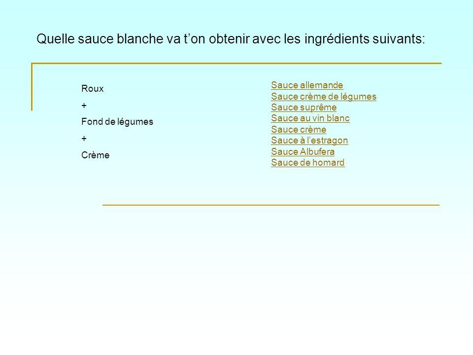 Quelle sauce blanche va t'on obtenir avec les ingrédients suivants: