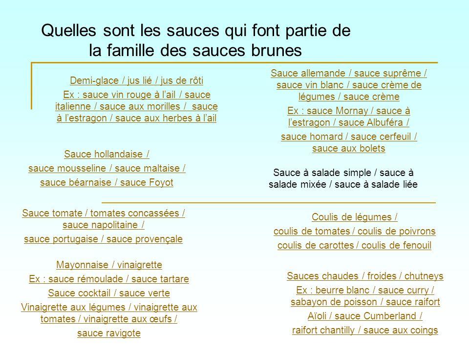 Quelles sont les sauces qui font partie de la famille des sauces brunes