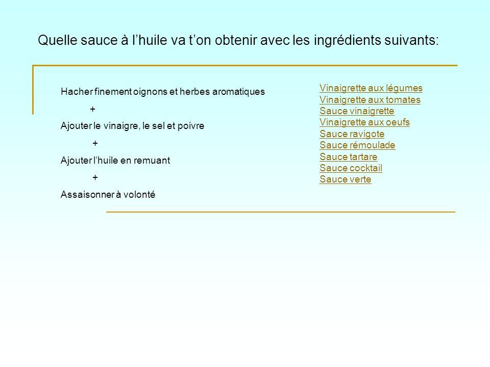 Quelle sauce à l'huile va t'on obtenir avec les ingrédients suivants: