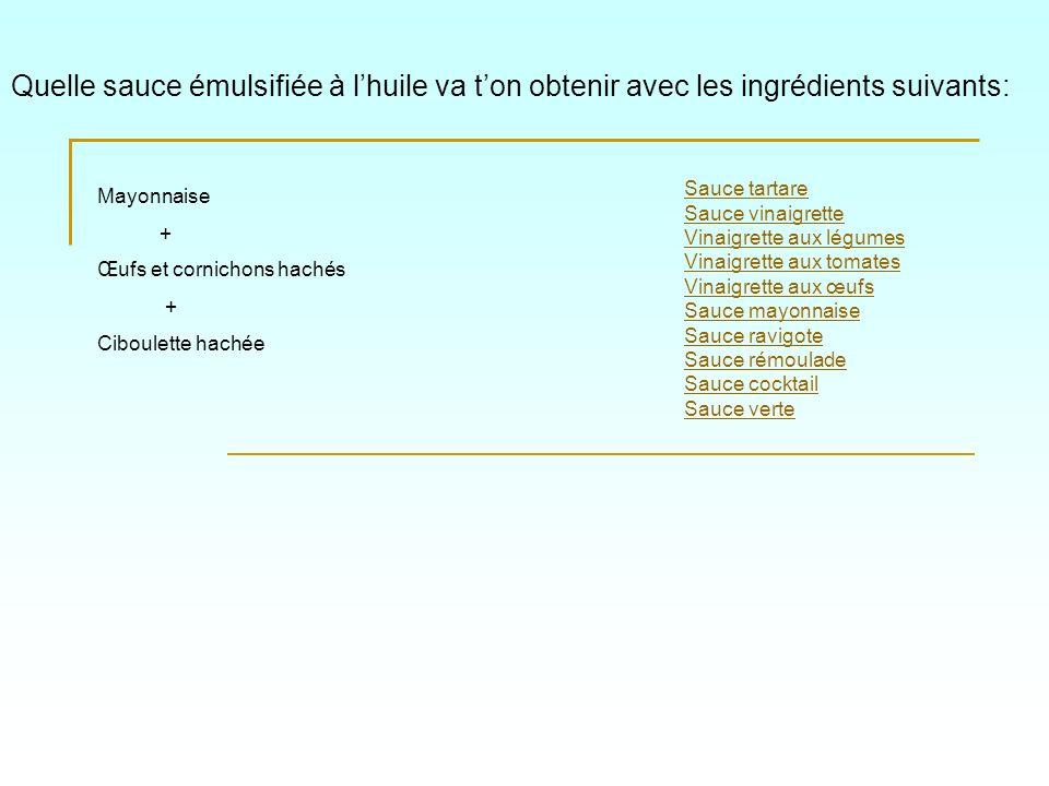 Quelle sauce émulsifiée à l'huile va t'on obtenir avec les ingrédients suivants: