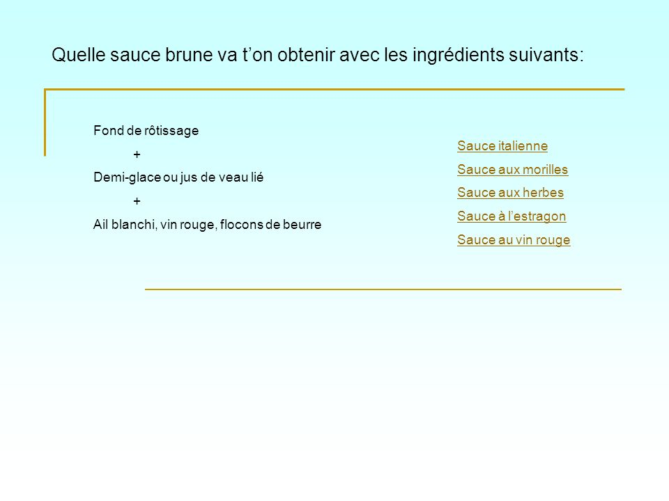 Quelle sauce brune va t'on obtenir avec les ingrédients suivants:
