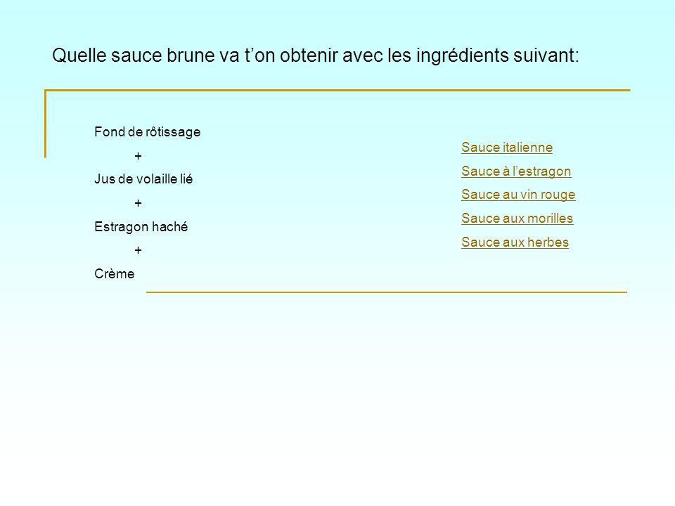 Quelle sauce brune va t'on obtenir avec les ingrédients suivant: