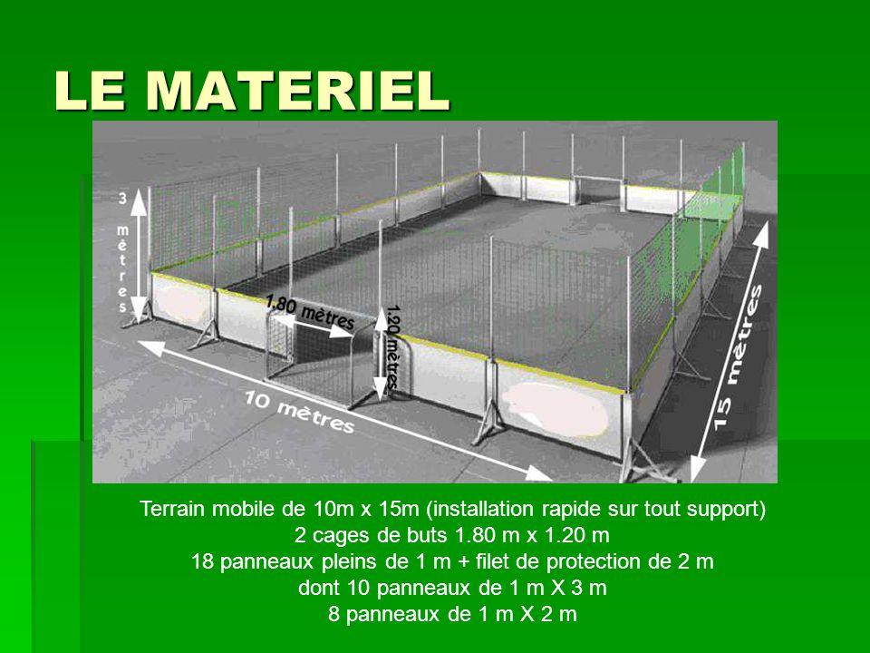 LE MATERIEL Terrain mobile de 10m x 15m (installation rapide sur tout support) 2 cages de buts 1.80 m x 1.20 m.