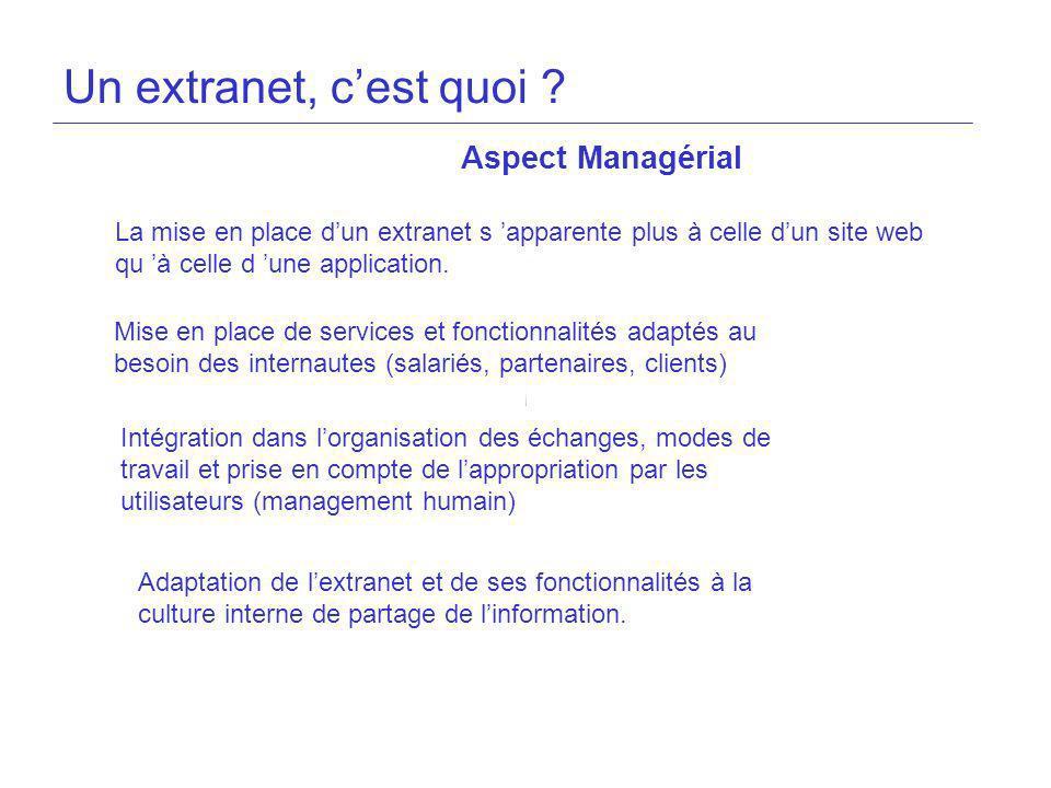 Un extranet, c'est quoi Aspect Managérial