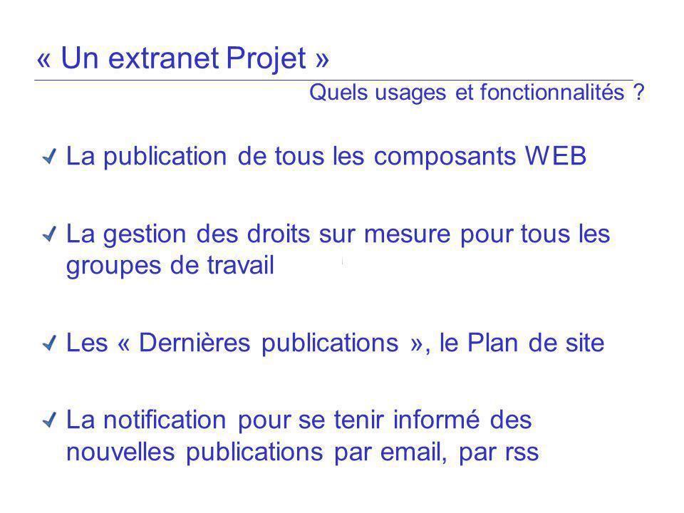 « Un extranet Projet » La publication de tous les composants WEB