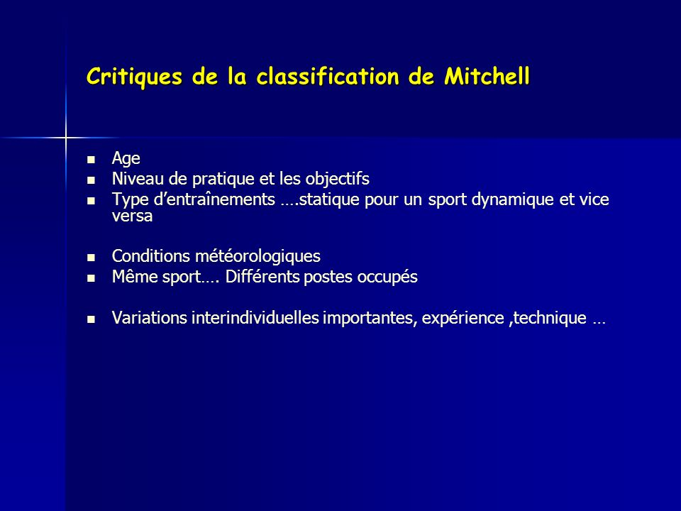 Critiques de la classification de Mitchell