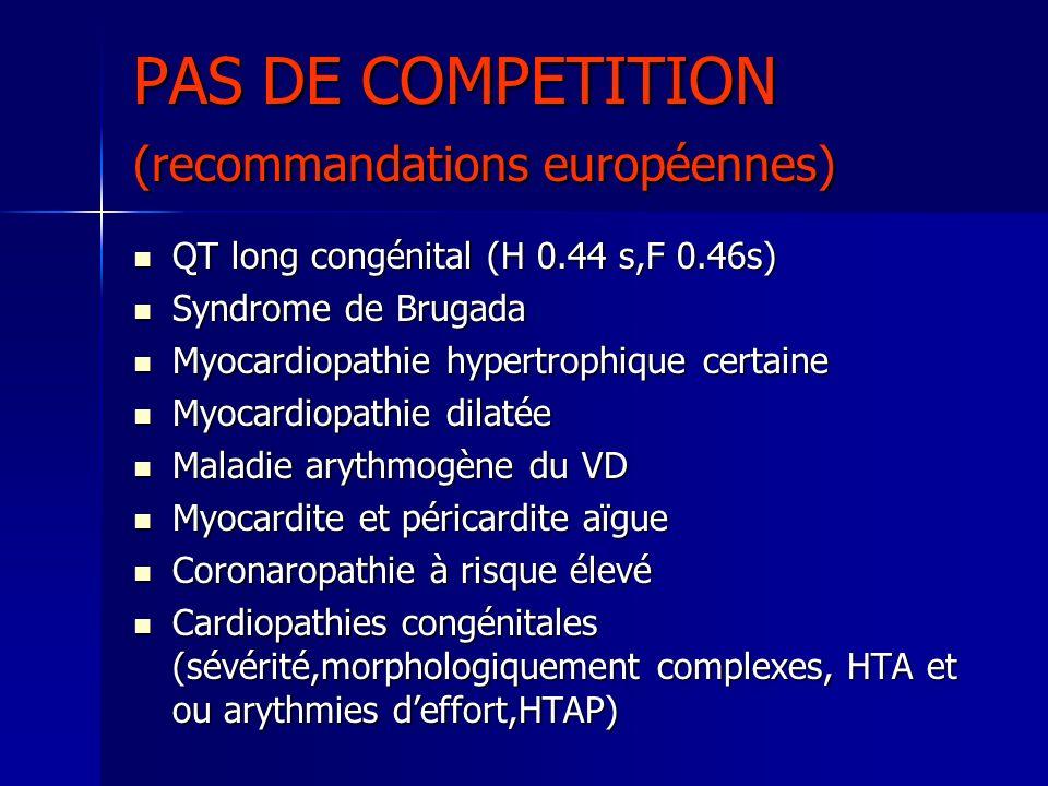 PAS DE COMPETITION (recommandations européennes)
