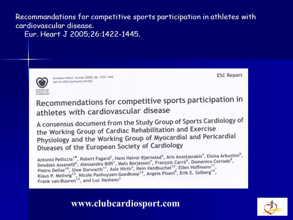 Recommandations for competitive sports participation in athletes with