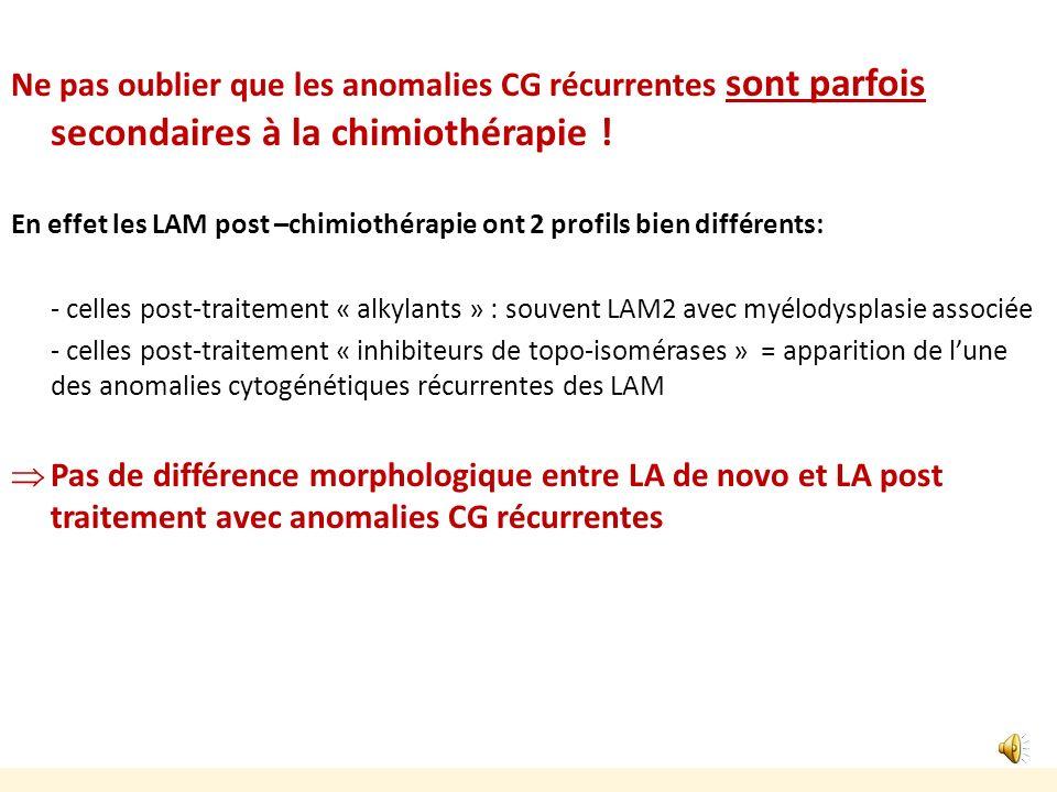 Ne pas oublier que les anomalies CG récurrentes sont parfois secondaires à la chimiothérapie !