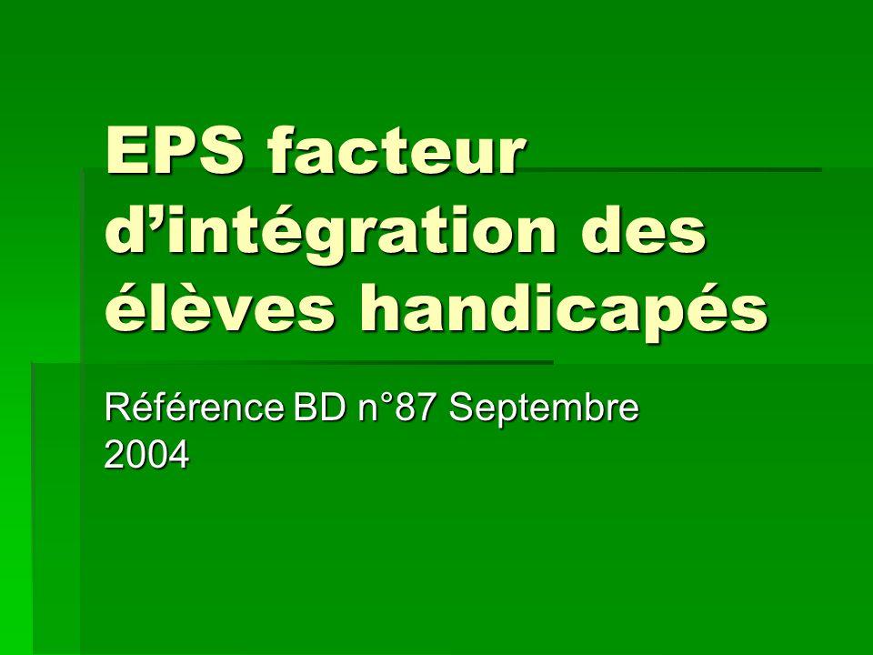 EPS facteur d'intégration des élèves handicapés