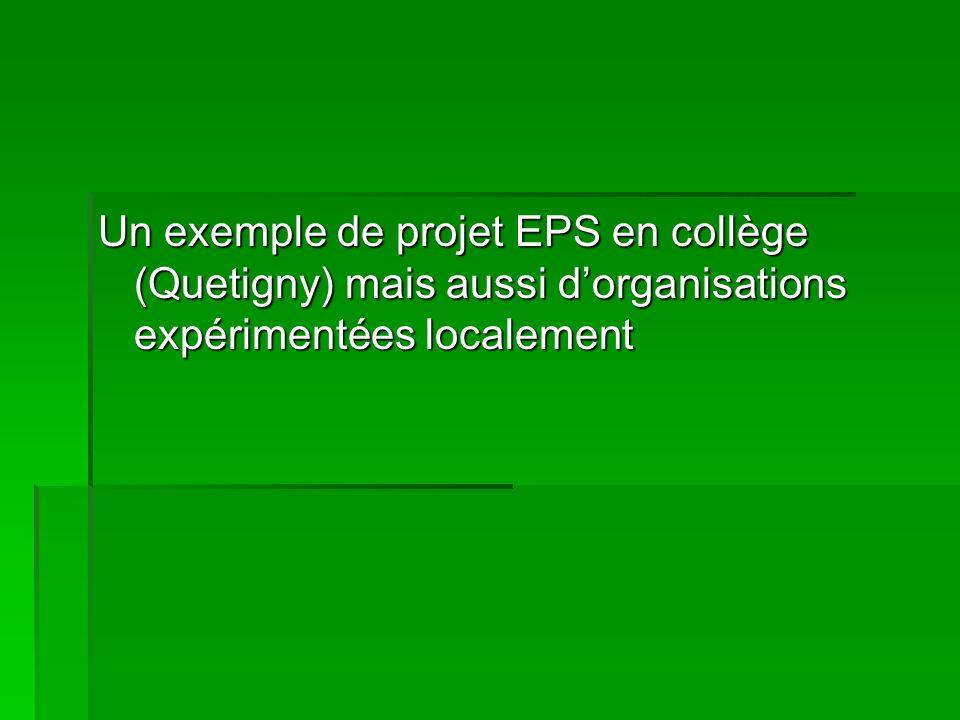 Un exemple de projet EPS en collège (Quetigny) mais aussi d'organisations expérimentées localement