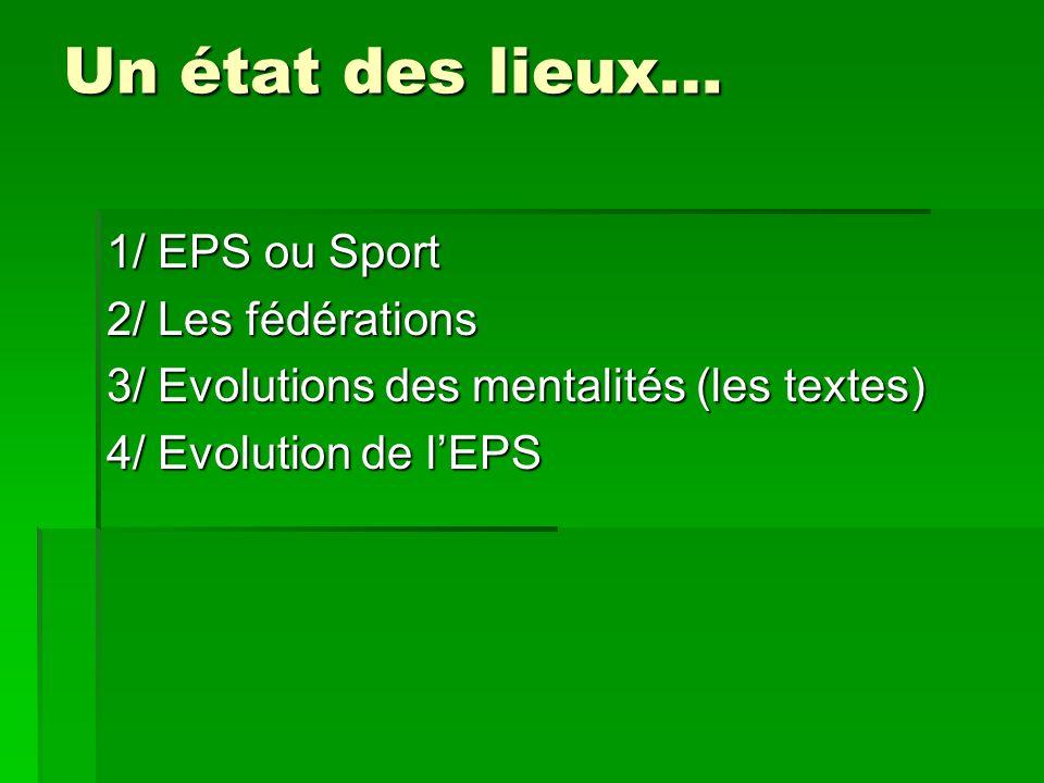 Un état des lieux… 1/ EPS ou Sport 2/ Les fédérations