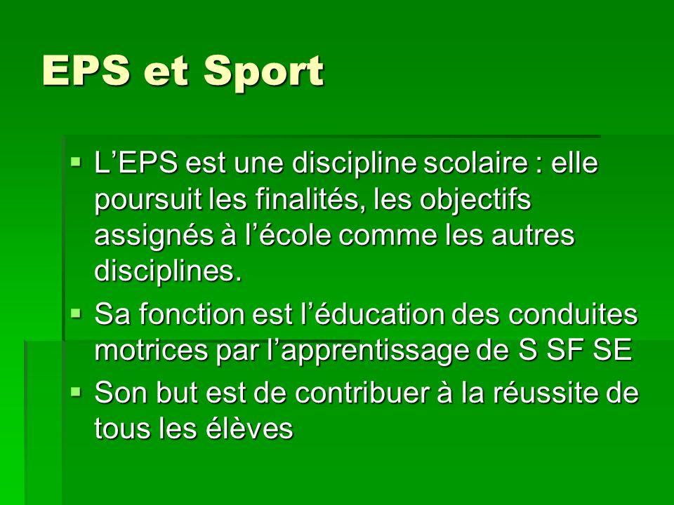 EPS et Sport L'EPS est une discipline scolaire : elle poursuit les finalités, les objectifs assignés à l'école comme les autres disciplines.