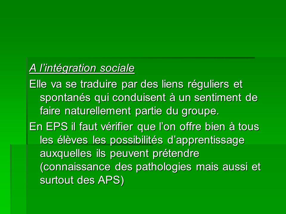 A l'intégration sociale