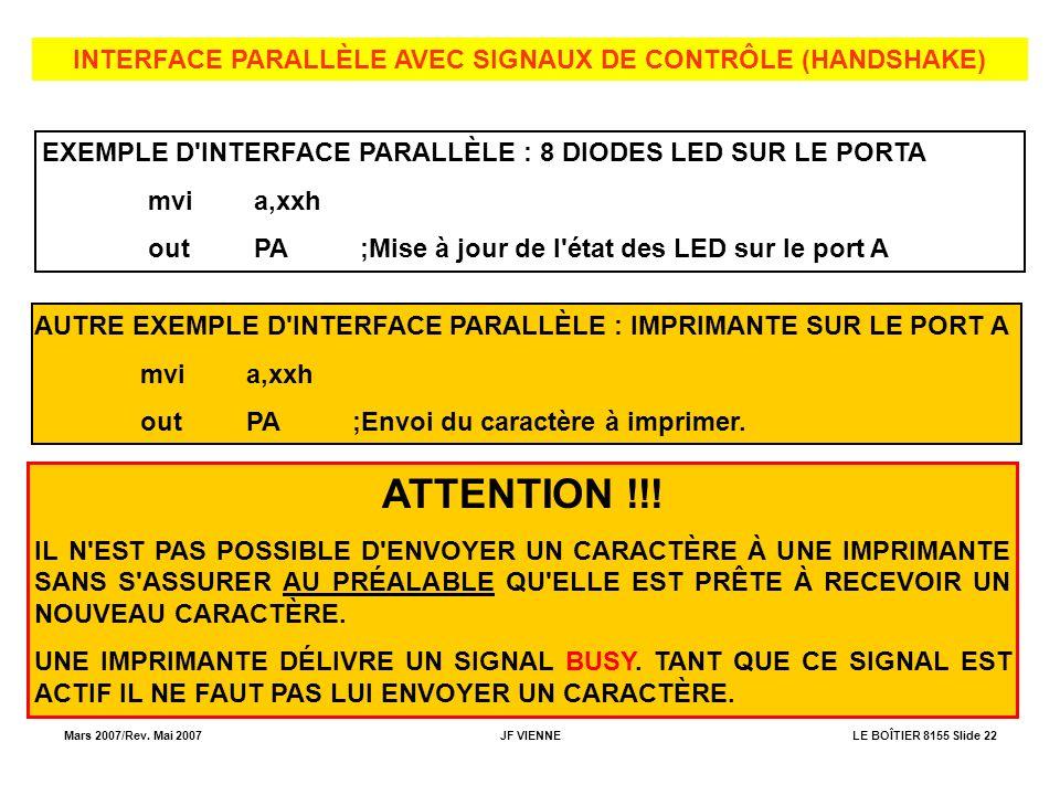 INTERFACE PARALLÈLE AVEC SIGNAUX DE CONTRÔLE (HANDSHAKE)