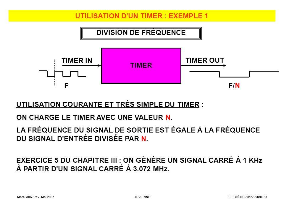 UTILISATION D UN TIMER : EXEMPLE 1