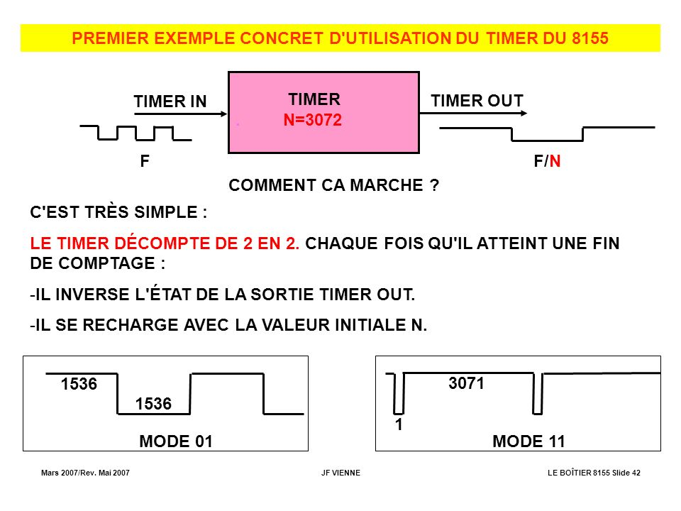 PREMIER EXEMPLE CONCRET D UTILISATION DU TIMER DU 8155