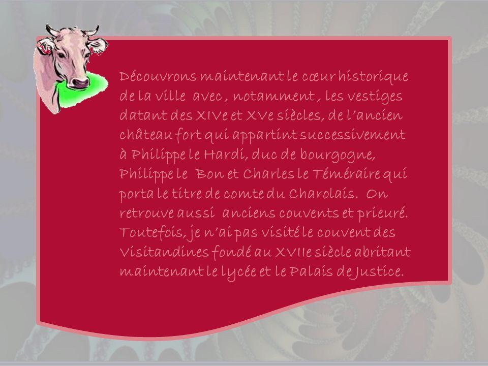 Découvrons maintenant le cœur historique de la ville avec , notamment , les vestiges datant des XIVe et XVe siècles, de l'ancien château fort qui appartint successivement à Philippe le Hardi, duc de bourgogne, Philippe le Bon et Charles le Téméraire qui porta le titre de comte du Charolais.