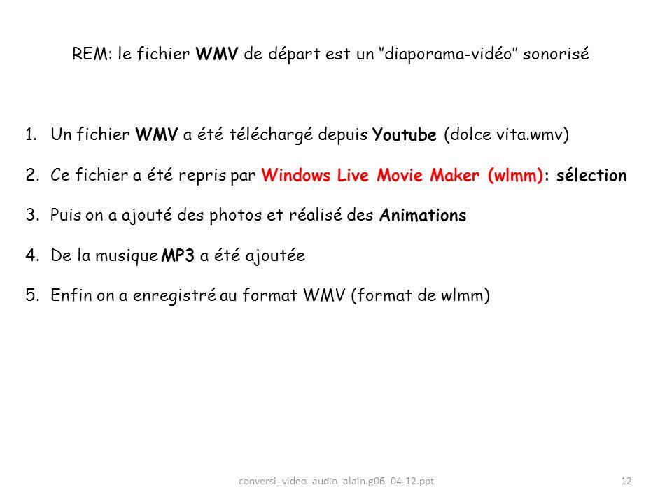 REM: le fichier WMV de départ est un ''diaporama-vidéo'' sonorisé