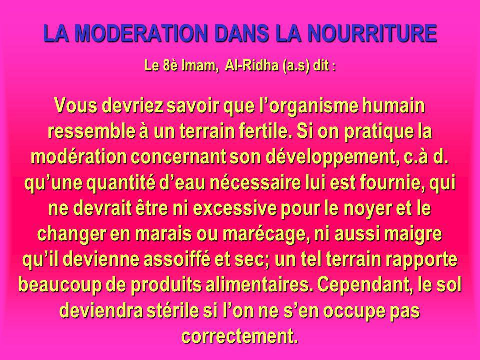LA MODERATION DANS LA NOURRITURE Le 8è Imam, Al-Ridha (a