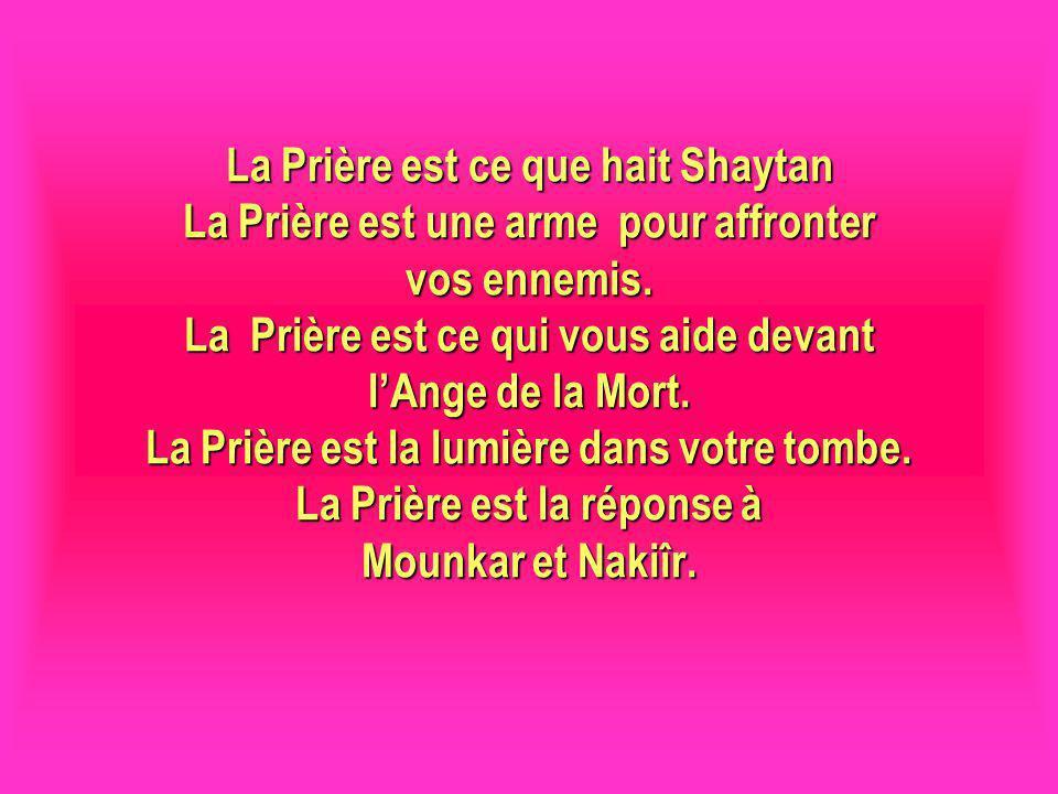 La Prière est ce que hait Shaytan La Prière est une arme pour affronter vos ennemis. La Prière est ce qui vous aide devant l'Ange de la Mort. La Prière est la lumière dans votre tombe. La Prière est la réponse à Mounkar et Nakiîr.