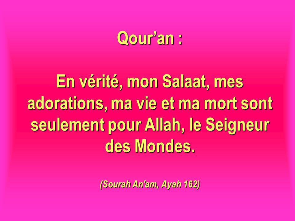 Qour'an : En vérité, mon Salaat, mes adorations, ma vie et ma mort sont seulement pour Allah, le Seigneur des Mondes.