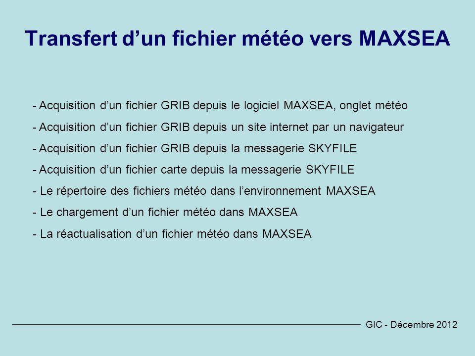 Transfert d'un fichier météo vers MAXSEA