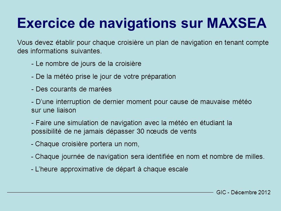 Exercice de navigations sur MAXSEA