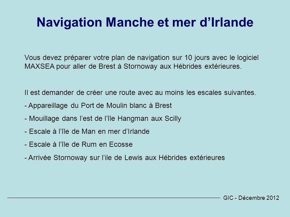 Navigation Manche et mer d'Irlande