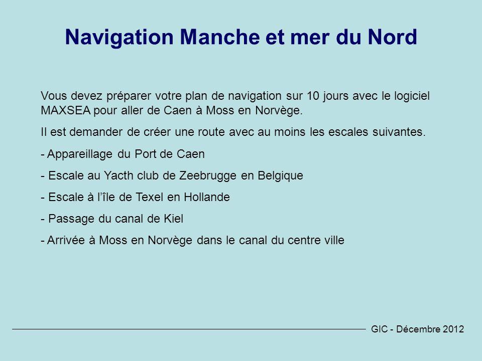 Navigation Manche et mer du Nord