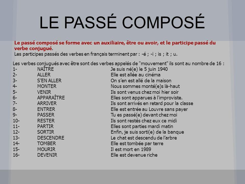 LE PASSÉ COMPOSÉ Le passé composé se forme avec un auxiliaire, être ou avoir, et le participe passé du verbe conjugué.