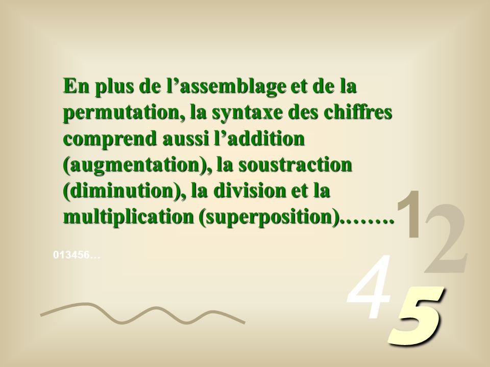 En plus de l'assemblage et de la permutation, la syntaxe des chiffres comprend aussi l'addition (augmentation), la soustraction (diminution), la division et la multiplication (superposition).…….