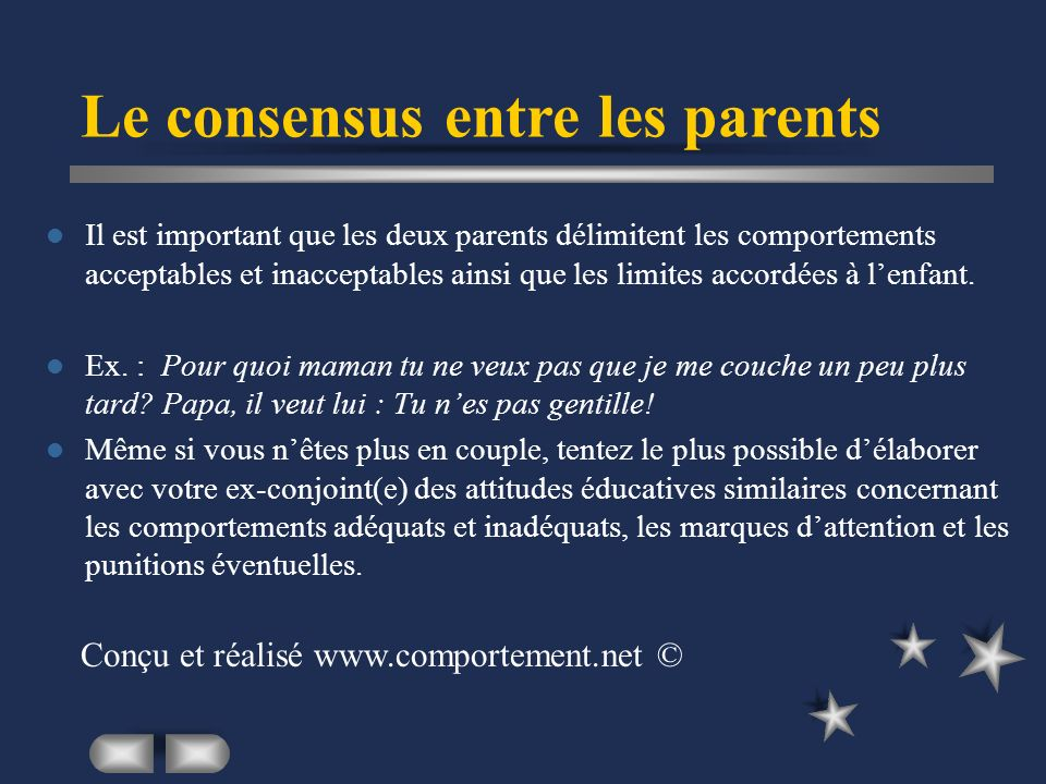 Le consensus entre les parents
