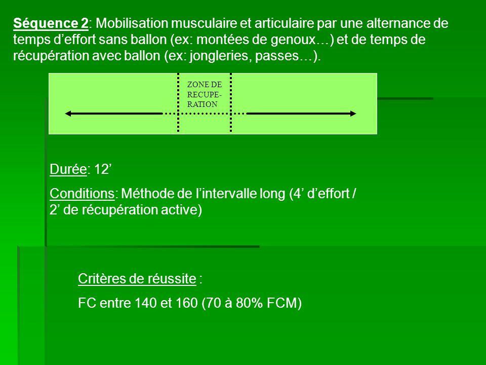 Séquence 2: Mobilisation musculaire et articulaire par une alternance de temps d'effort sans ballon (ex: montées de genoux…) et de temps de récupération avec ballon (ex: jongleries, passes…).