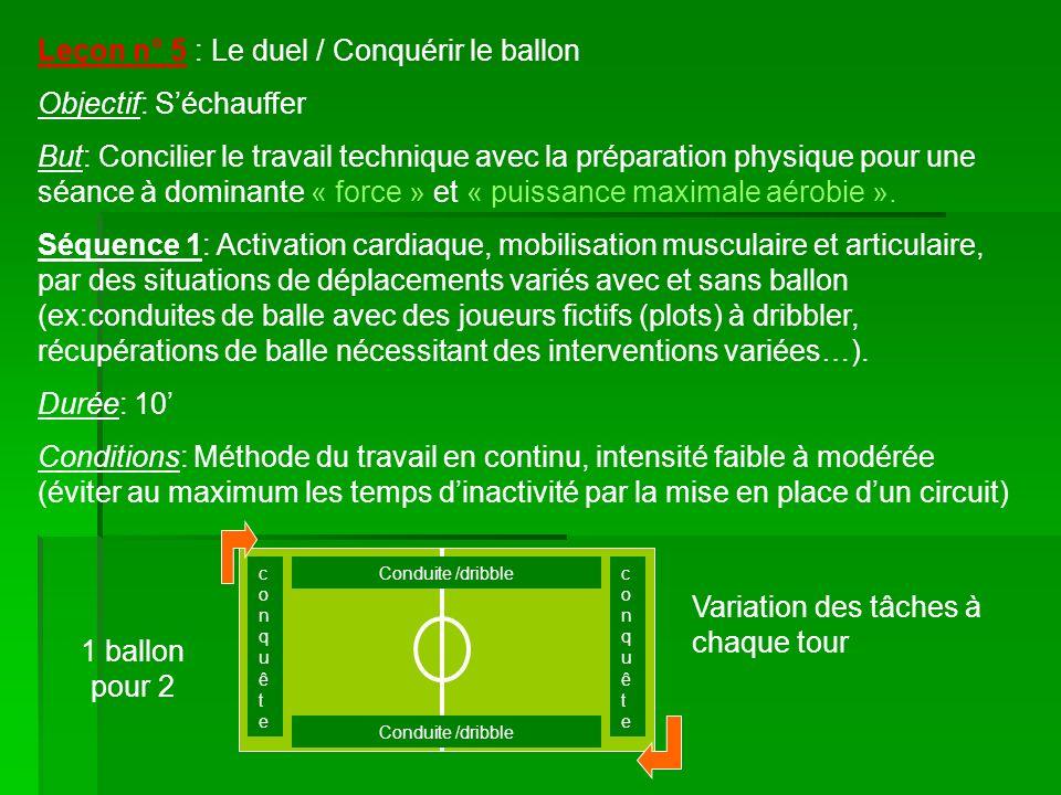 Leçon n° 5 : Le duel / Conquérir le ballon Objectif: S'échauffer