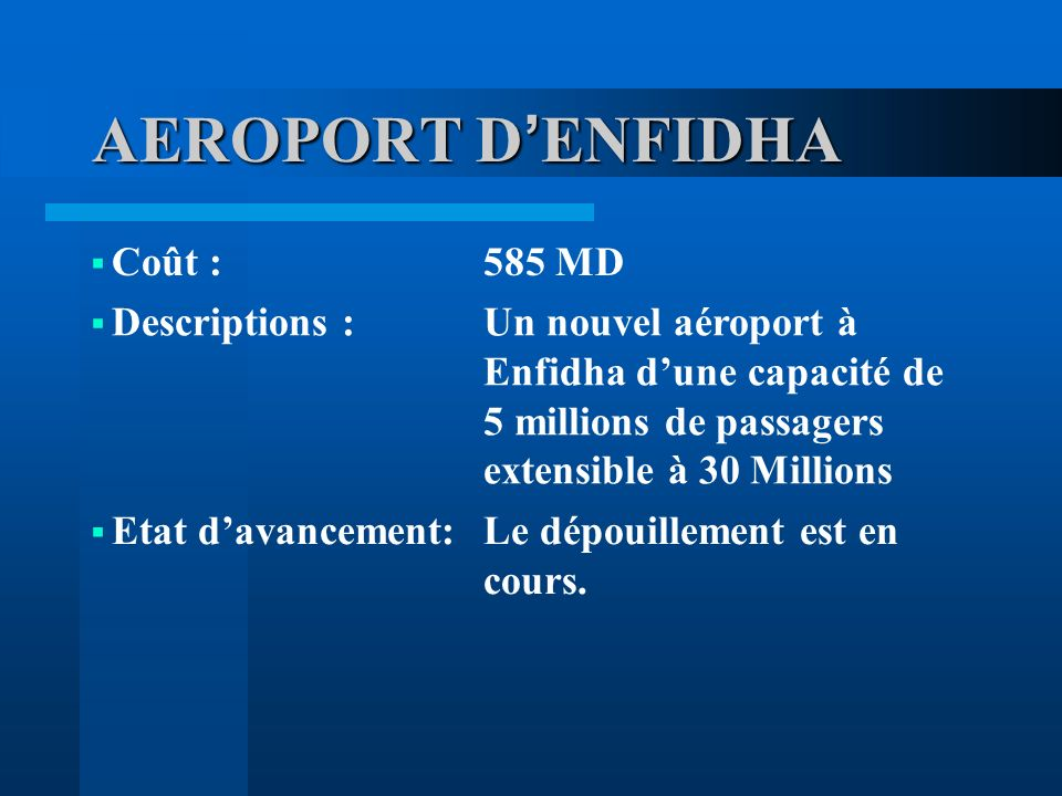 AEROPORT D'ENFIDHA Coût : 585 MD Descriptions :