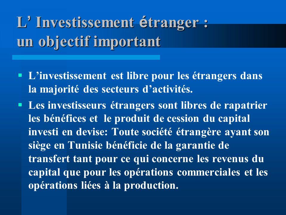 L' Investissement étranger : un objectif important