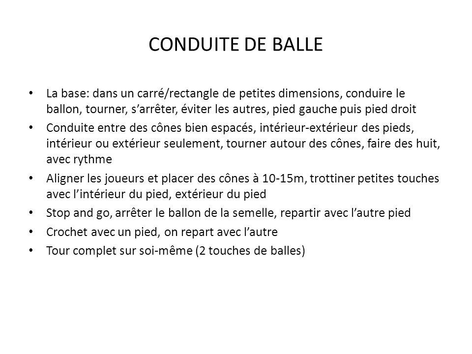 CONDUITE DE BALLE