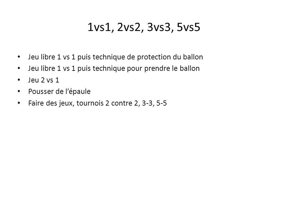1vs1, 2vs2, 3vs3, 5vs5 Jeu libre 1 vs 1 puis technique de protection du ballon. Jeu libre 1 vs 1 puis technique pour prendre le ballon.