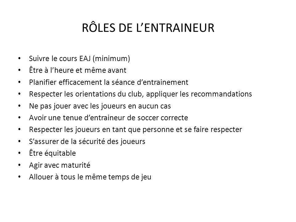 RÔLES DE L'ENTRAINEUR Suivre le cours EAJ (minimum)