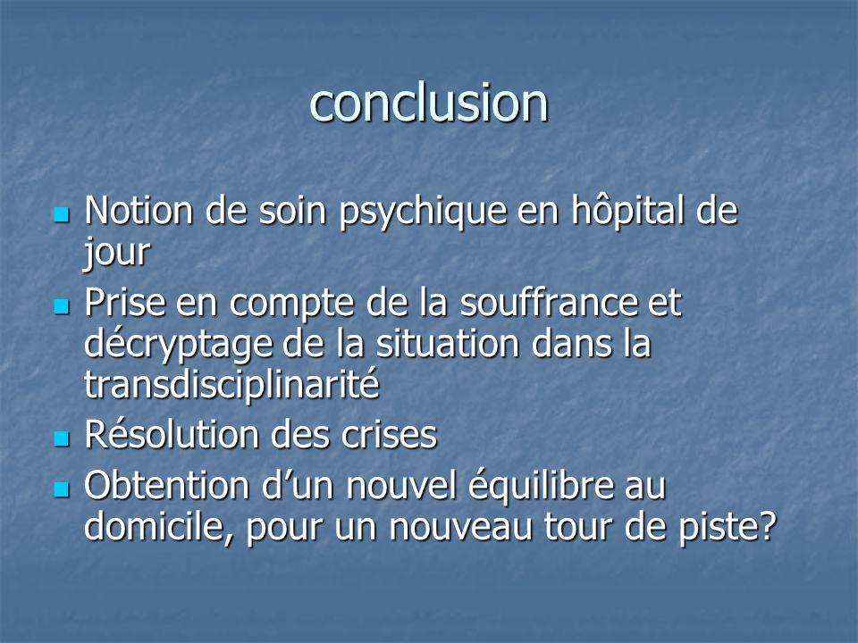 conclusion Notion de soin psychique en hôpital de jour