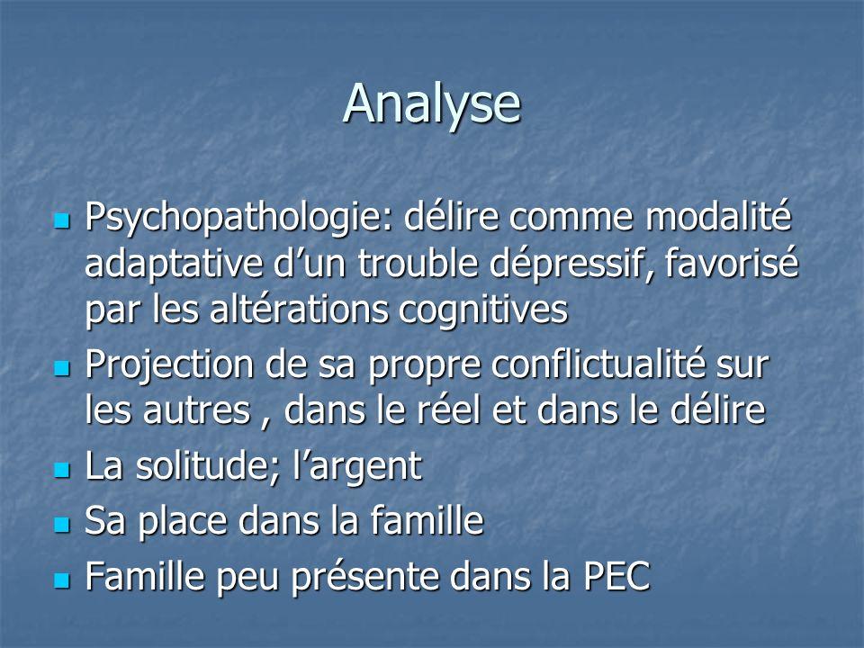 Analyse Psychopathologie: délire comme modalité adaptative d'un trouble dépressif, favorisé par les altérations cognitives.