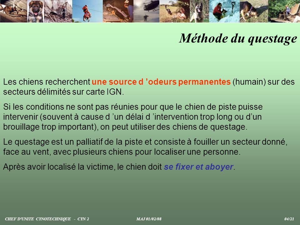 Méthode du questage Les chiens recherchent une source d 'odeurs permanentes (humain) sur des secteurs délimités sur carte IGN.