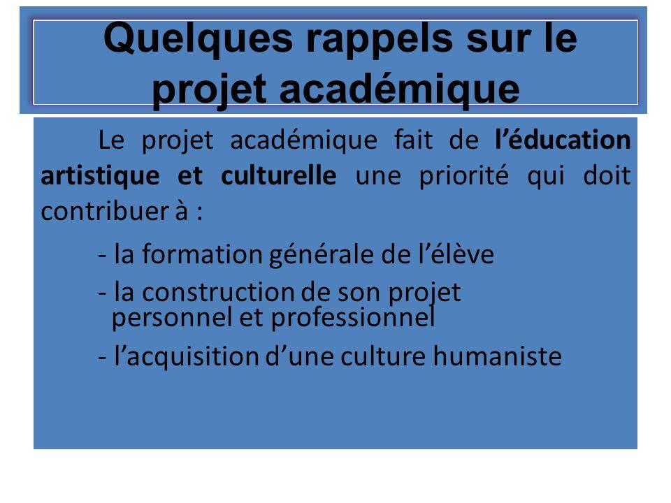 Quelques rappels sur le projet académique