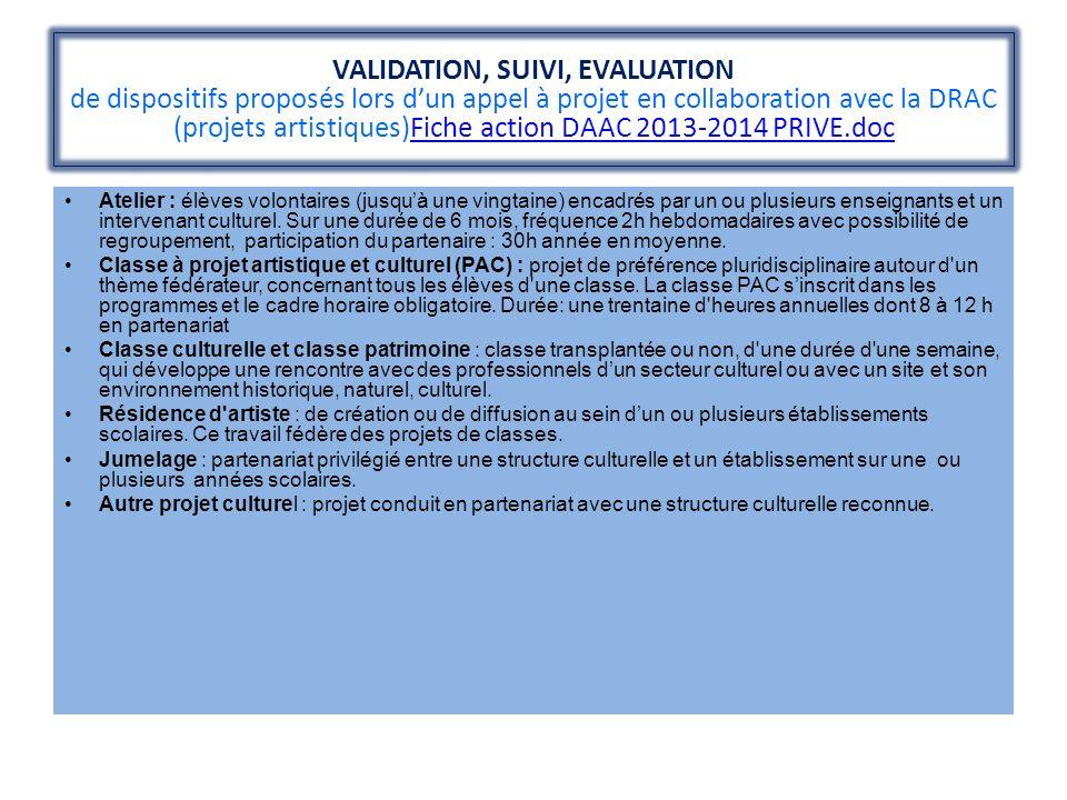 VALIDATION, SUIVI, EVALUATION de dispositifs proposés lors d'un appel à projet en collaboration avec la DRAC (projets artistiques)Fiche action DAAC 2013-2014 PRIVE.doc